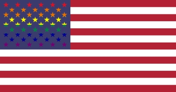 Flag of USA with Rainbow Stars